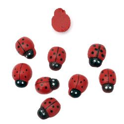 Wooden Decoration Element Ladybug 9x13x4 mm cabochon type, painted red - 20 pieces