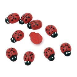 Wooden Decoration Element Ladybug 8x10x4 mm cabochon type painted red - 20 pieces