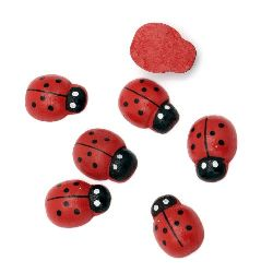 Wooden Decoration Element Ladybug 14x19x6.5 mm cabochon type painted red - 10 pieces