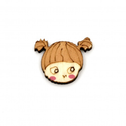 Wooden figurine girl, cabochon type 19x15x2.7 mm - 10 pieces