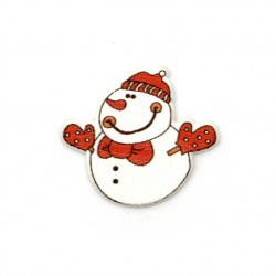 Christmas wooden figure snowman 30x33x2 mm type cabochon - 10 pieces