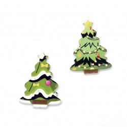 Χριστουγεννιάτικο Ξύλινο διακοσμητικό  δέντρο 35x25x3 mm τύπου Cabochon  -10 τεμάχια