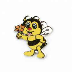 Фигурка дърво пчела 29x27x3 мм тип кабошон -10 броя