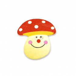 Wooden figure mushroom 32x29x2 mm type cabochon -10 pieces