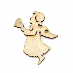 Pendant wooden angel 70x57x2 mm hole 3 mm - 2 pieces