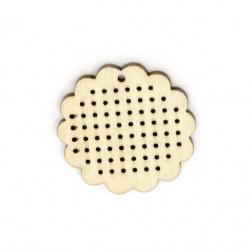 Λουλούδι κρεμαστό ξύλο βάση για κεντημένα κοσμήματα 44x45x4 mm τρύπα 2 mm -2 τεμάχια