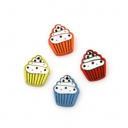 Colorful wooden pendant cupcake 20x17x5 mm hole 0.5 mm MIX - 10 pieces