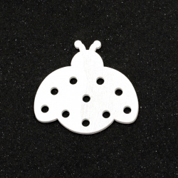 Wooden Ladybug for DIY Jewelry and Crafts  36x39x2 mm type cabochon, color white - 5 pieces