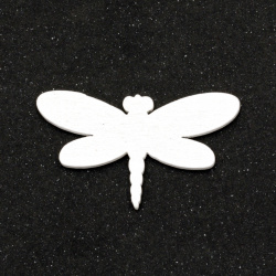 Wooden dragonfly for  decoration  24x42x2 mm type cabochon, color white - 5 pieces