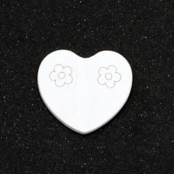 Фигурка дърво сърце 26x30x2 мм тип кабошон цвят бял -10 броя
