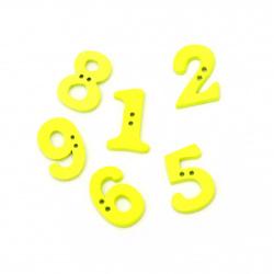 Копче дърво цифри 21x14~16x2~5 мм дупка 1 мм жълти -20 броя
