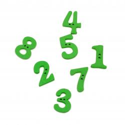 Копче дърво цифри 21x14~16x2~5 мм дупка 1 мм зелени -20 броя