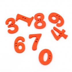 Копче дърво цифри 21x14~16x2~5 мм дупка 1 мм оранжеви -20 броя