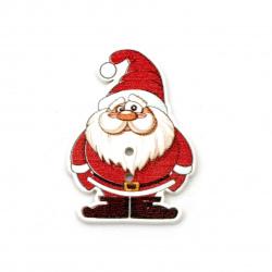 Άγιος Βασίλης ξύλινο κουμπί 35x25x2 mm τρύπα 1 mm -10 τεμάχια