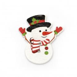 Копче дърво Коледа снежен човек 35x30x2 мм дупка 1 мм -10 броя