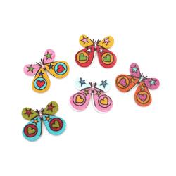 Копче дърво пеперуда 25x30x2 мм дупка 1.5 мм МИКС -10 броя