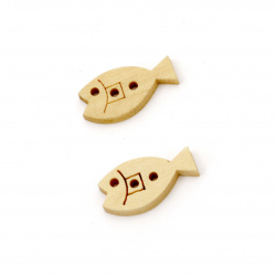 Копче дърво риба 19x10x3 мм дупка 1 мм -20 броя