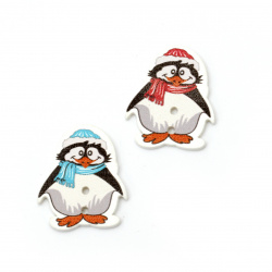 Копче дърво пингвин 29x25x2 мм дупка 2.5 мм МИКС -10 броя