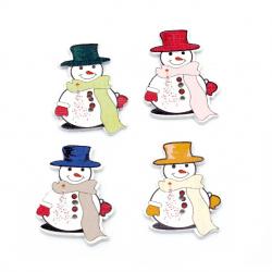 Копче дърво Коледа снежен човек 35x26x2 мм дупка 1 мм МИКС -10 броя