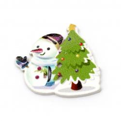 Копче дърво Коледа снежен човек с елха 30x33x2 мм дупка 1 мм -10 броя