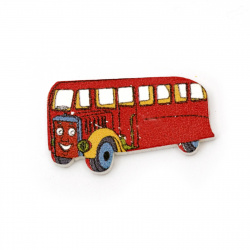 Wooden Decoration Ornament bus 19x33x2 mm cabochon type - 10 pieces