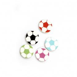 Μπάλα ξύλινο διακοσμητικό 15x3 mm τύπου cabochon μίξη χρωμάτων-10 τεμάχια