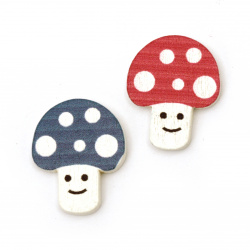 Cabochon Wooden Decoration Element Mushroom 22x18x3mm, 10 pcs.
