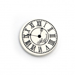 Wooden Ornament clock 30x3 mm type cabochon white -10 pieces
