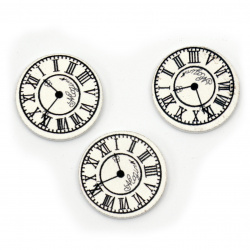 Wooden Ornament clock 25x3 mm type cabochon white - 10 pieces