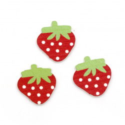 Wooden Ornament strawberry 20x18x3 mm type cabochon - 10 pieces