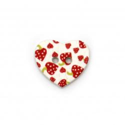 Копче дърво сърце 25x22x3 мм дупка 1.5 мм цветно -10 броя