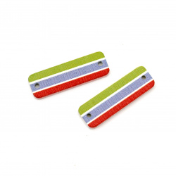 Connecting element wooden, rectangle 31x10x3 mm hole 1.5 mm, 3 colors -10 pieces