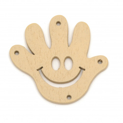Figura lemn zambet de mana 43x40x2 mm gaura 2 mm culoare natural -5 buc