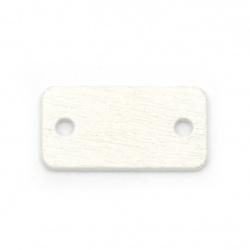 Element de legatura țigla de lemn 23x12x2 mm orificiu 2,5 mm alb pentru decorare -10 buc