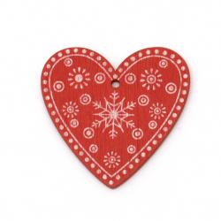 Висулка сърце 50x48x2.5 мм дупка 2.5 мм червена с коледни мотиви -5 броя