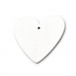 Pendant heart 50x48x2.5 mm hole 2.5 mm white with Christmas motifs - 5 pieces