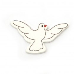 Wooden Figure pigeon 40x22x2.5 mm type cabochon - 10 pieces