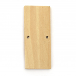Wooden Connector rectangle 64x27x5 mm hole 3 mm color wood - 2 pieces