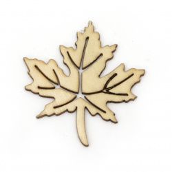 Wooden Figurine leaf 56x52x2 mm color wood  - 5 pieces