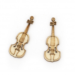 Wood Figurine violin 35x12.5x2 mm color wood - 10 pieces