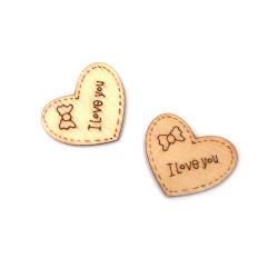 Pandantiv copac inimă Te iubesc 25x28x2 mm gaură 1,5 mm culoare lemn -10 bucăți