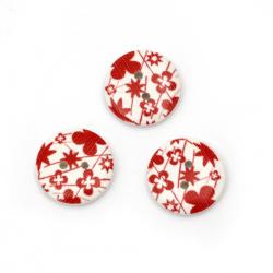 Στρόγγυλο ξύλινο κουμπί 18x4 mm τρύπα 1,5 mm λευκό και κόκκινο -10 κομμάτια