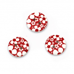Копче дърво кръг 15x4 мм дупка 1.5 мм бяло и червено -10 броя