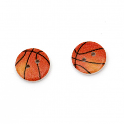 Round wooden button, flat with print 15x4 mm hole 1.5 mm - 10 pieces