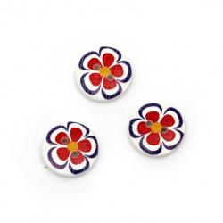 Στρόγγυλο ξύλινο κουμπί 15x4 mm τρύπα 1,5 mm λουλούδι -10 κομμάτια