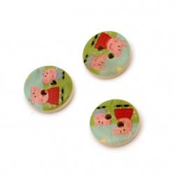 Копче дърво кръг 15x4 мм дупка 1.5 мм цветно -10 броя