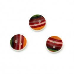 Копче дърво кръг 12x4 мм дупка 1.5 мм цветно -10 броя