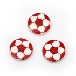Копче дърво топка 20x4 мм дупка 2 мм бяло с червено -10 броя