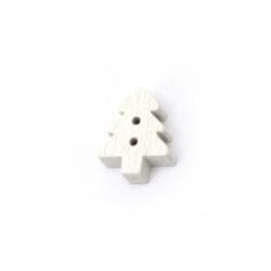 Копче дърво Коледа елха 15x12x4 мм дупка 1 мм цвят бял -20 броя