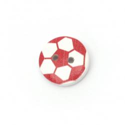Копче дърво 15x4 мм дупка 2 мм червено -10 броя
